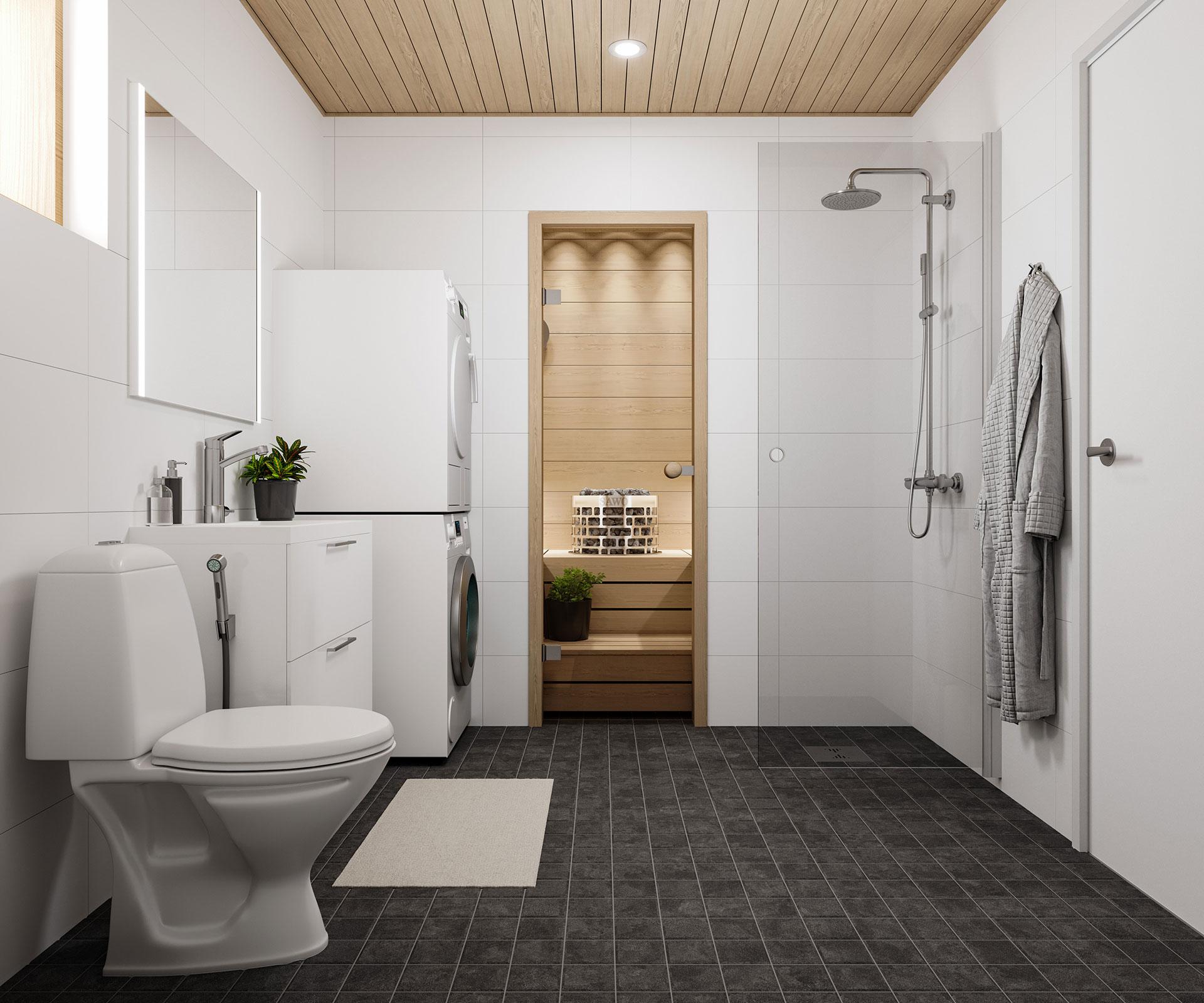 Luuwe Kodit: As. Oy Lohjan Roution metsänhenki, sisäkuva pesuhuone ja sauna